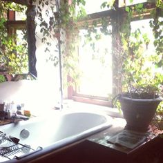 Via sacred_geometry on Instagram. Greenery in the bathroom! Plants clean the air if you get my drift