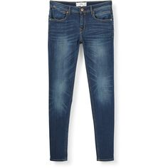MANGO Skinny Push-Up Uptown Jeans (€53) ❤ liked on Polyvore featuring jeans, low waist skinny jeans, blue jeans, low waist jeans, faded blue skinny jeans and faded blue jeans