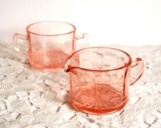Vintage Cream and Sugar Bowl Set Pink Depression by CalloohCallay, $25.00