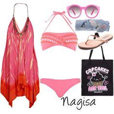 """fem!Nagisa at the beach"" by winterlake25 on Polyvore"