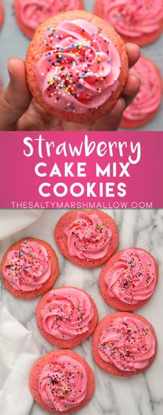 Strawberry cake mix cookies!