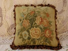 16-Rare-OLD-VINTAGE-ANTIQUE-French-Aubusson-Pillow-Cushion-Daisy-Rose
