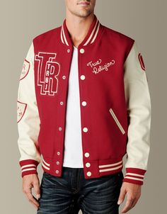 Bronco Own this seasons most stylish outer wear delivery - the Letterman Jacket. Classic athletic wear is a vintage lovers dream with. Letterman Jacket Outfit, Varsity Letterman Jackets, Letterman Jacket Patches, Custom Varsity Jackets, Mens Outdoor Jackets, Jeans Brands, True Religion, Swagg, Bomber Jacket