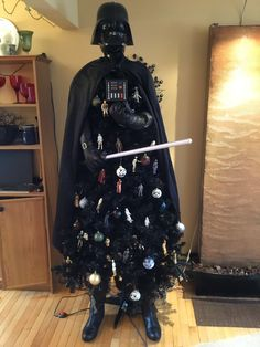 My Darth Vader Christmas tree. My Darth Vader Christmas tree. Christmas Tree Kinds, Star Wars Christmas Tree, Darth Vader Christmas, Christmas Trees For Kids, Dark Christmas, Christmas Tree Decorations, Unusual Christmas Trees, Xmas Trees, Christmas Wreaths