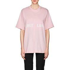 Helmut Lang Women's Logo Cotton T-Shirt (£105) ❤ liked on Polyvore featuring tops, t-shirts, red, light pink t shirt, logo tee, cotton logo t shirts, crew-neck tee and oversized t shirt