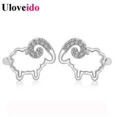 Find More Stud Earrings Information about 2016 Cute Sheep Brincos Women Animal Earrings with White Stones Silver Plated Bijoux Crystal Stud Earring for Kids Ulove JS502,High Quality earring angel,China earrings amazon Suppliers, Cheap earrings leopard from Uloveido Official Store on Aliexpress.com
