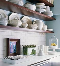 7 Ideas for Decorating Small Spaces: #6 Keep your kitchen storage open. For more great ideas, go to http://decoratingfiles.com/2012/08/7-ideas-for-small-space-decorating/