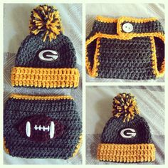 Green Bay Packers Baby Crochet Outfit by astitchintime36 on Etsy Green Bay  Packers Hat 950033a24