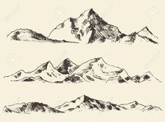 Mountains Sketch Contours Engraving Hand Drawn Vector Royalty Free Cliparts, Vectors, And Stock Illustration. Image 43620914. Mountain Sketch, Mountain Drawing, Mountain Tattoo, Mountain Outline, Contour, Small Girly Tattoos, Landscape Tattoo, Nature Drawing, Vector Art