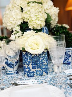 Julia Hoyt and Minot Amory's Blue and White Wedding in Southampton - Over The Moon Wedding Reception Flowers, Wedding Bells, Floral Wedding, Italy Wedding, Our Wedding, Dream Wedding, Wedding Table, Wedding Ideas, White Table Settings