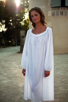 Yves Delorme Long Nightdress in White Cotton Voile