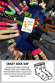 Crazy Sock Day Free Flyer to inform your families. #bookswithactivities #drseuss