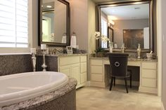 Burrows Cabinets' master bathroom cabinets with seated makeup vanity in bone white Bathroom With Makeup Vanity, Beauty Salon Interior, Coffee Health Benefits, New House Plans, Easy Healthy Breakfast, Salon Design, Healthy Living Tips, Bathroom Cabinets, Corner Bathtub