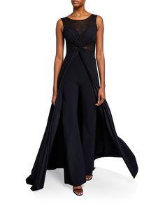 a599941e ... V-Neck 3/4-Sleeve Shirred Mermaid Gown - Bergdorf Goodman. See more. Chiara  Boni La Petite Robe Allyette Mesh Illusion Sleeveless Jumpsuit w/ Overskirt  ...