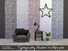 The Sims Resource: Typography Modern Wallpaper by Rirann • Sims 4 Downloads