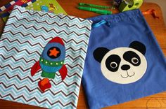 cute drawstring bags for books or toys.  I made a bunch of these for my boys when they were young - train fabric for the trains, car fabric for the cars - but appliqueing the shape would have been super cute too!