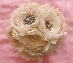 Ivory Fabric flower Custom Wedding Bouquet, with brooches - SOLD. $200.00, via Etsy.