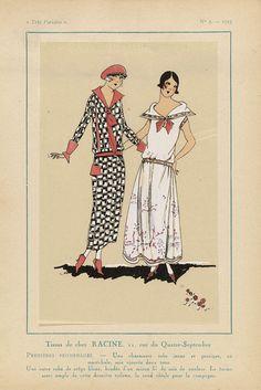 Anonymous | Très Parisien 1923, No. 2:  Tissus de chez Racine..., Anonymous, V. Racine, G-P. Joumard, 1923 | Stoffen van Racine. Een charmante jurk, 'jeune et pratique, en maréchale', van tweekleurige 'soie ajourée' (zijde). Een andere jurk van witte crêpe, geborduurd met een dunne gekleurde zijden draad. De vorm van dit laatste 'toilette', maakt haar ideaal voor het platteland. Prent uit het modetijdschrift Très Parisien (1920-1936).