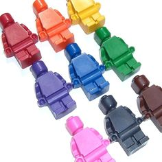 Would be great for a Lego party bag    ORDER LEGO CRAYONS!  http://www.etsy.com/listing/63359190/action-figure-man-crayons-set-of-9