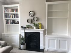 Built In Cupboards Living Room, Alcove Storage Living Room, Wall Cabinets Living Room, Alcove Shelving, Alcove Cupboards, Dining Room Shelves, Living Room Built Ins, Dining Room Fireplace, Shelving In Living Room