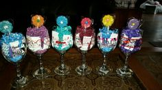 Added candy , to the glasses, using for the baby bingo,  prizes.