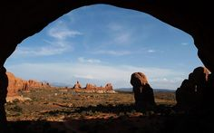 View out from the Double Arch in Arches National Park, Moab, Utah