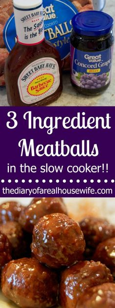 3 Ingredient Meatballs in the Slow Cooker! These are perfect for a party or great as dinner.
