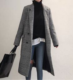 ideas for style inspiration classic death Look Fashion, Korean Fashion, Fashion Outfits, Womens Fashion, Fall Winter Outfits, Autumn Winter Fashion, Mein Style, Plaid Coat, Houndstooth Jacket