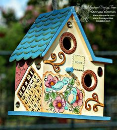 Love the use of scrapbook supplies to decorate this birdhouse.