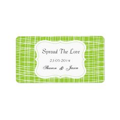 """A fabulous idea for wedding favors, little pots of jam or honey add these stylish little labels in green and white pattern """"Spread The Love"""" personalized with your wedding date and initials or names. #wedding #favors #jam #labels #spread #the #love #canning #labels #wedding #diy #wedding #favors #personalized #wedding #favors #patterned #stylish #green #jar #labels #weddings #wedding #stickers #favors #personalized #names #initials #monograms #white #pattern #apple #green"""