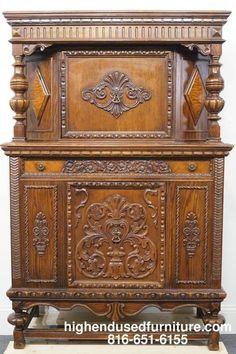 """Antique 1920's Gothic Revival Jacobean 44"""" Court Cupboard"""