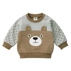 MOF Kids sweatshirts infant baby boy sweatsuit cartoon animal print featuring a crew neck, long sleeves, a printed cartoon animal print logo to the front, side slits and a straight hem. Teddy Bear Clothes, Cute Baby Clothes, Toddler Fashion, Boy Fashion, Baby Boy Outfits, Kids Outfits, Animal Print Outfits, Kids Coats, Baby Cartoon