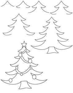 Learn To Draw A Christmas Tree For Christmas Activity Book Leave