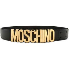 Moschino Leather Belt (880 RON) ❤ liked on Polyvore featuring accessories, belts, black, leather belt, moschino belt, moschino and logo belts