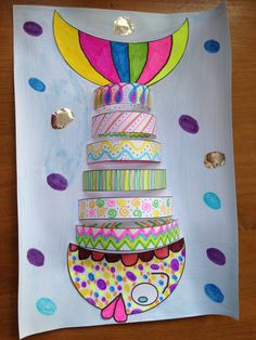 Instead of a fish, do this as a layered cake for a birthday card. Projects For Kids, Crafts For Kids, Arts And Crafts, Paper Crafts, Summer Art Projects, Ocean Crafts, Fish Crafts, Art N Craft, Sea Theme