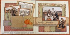 layout by Roxanne using CTMH Huntington paper... photos in sepia tone but pumpkins left orange!