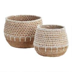 Natural Banana Leaf Harper Basket with White Macrame - Large by World MarketYou can find World market and more on our. Sisal, World Market Store, Plant Basket, Bamboo Basket, Market Baskets, Basket Decoration, Storage Baskets, Lp Storage, Record Storage