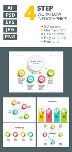 4 Step Workflow Infographics Element Templates PSD, Vector EPS, AI Illustrator