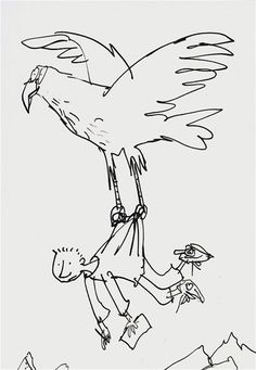 Quentin Blake. it is a simple shilouette of eagle and a man. it can be interpertaion of a man wants to fly or aiming high.