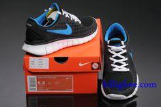 buy online 7083d 96836 Billig Schuhe Damen Nike Free Run + (Farbe Vamp-schwarz,innenlogo-blau Sohle-weiB)  Online in Deutschland.