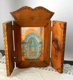 Vintage Mexico Wood Virgin Mary Guadalupe Icon Shrine Folk Art Light Lamp Altar