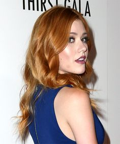Katherine McNamara Long Wavy Hairstyle - Light Red - side view