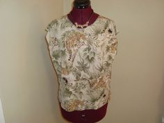 Nice Jaipur Sz XL Women's Leopard Jungle Print Stretch Top W/ Silver Shimmer #Jaipur #KnitTop