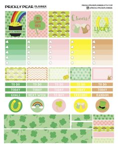 FREE St. Patrick's Day Free Printable Planner Stickers by PRICKLYPEARPLANNER