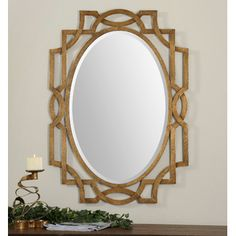 RECOMMEND HANGING HORIZONTALLY:  Uttermost Margutta Wall Mirror