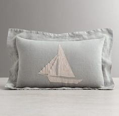 RH baby&child's Appliquéd Linen Sailboat Boudoir Sham:A flotilla of appliquéd sailboats gives our pure linen bedding nautical appeal, ferrying little ones off to the land of nod in soothing style.