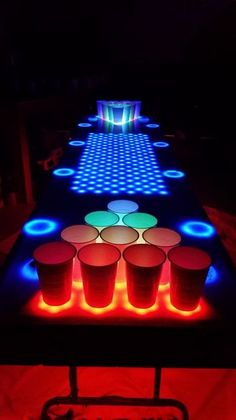 Interactive LED Beer Pong Table (BPT : 40 Steps (with Pictures) - Instructables Outdoor Graduation Parties, Graduation Party Games, Led Beer Pong Table, Pool Beer Pong, Beer Table, Alcohol Games, Neon Party, Disco Party, Party Party