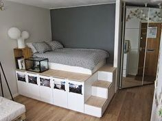 Next Post Previous Post 8 DIY Storage Beds to Add Extra Space and Organization to Your Home DIY-Lagerbetten, um Ihrem. Diy Storage Bed, Under Bed Storage, Storage Hacks, Bedroom Storage Solutions, Underbed Storage Ideas, Recycling Storage, Closet Solutions, Storage Place, Small Storage