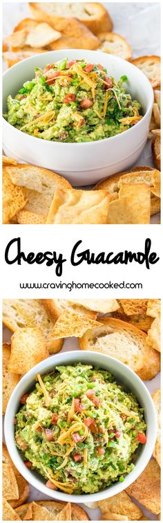 This Cheesy Guacamole might be the best guacamole you'll ever have. It's chunky, perfect combination of flavors with some cheddar cheese thrown in, and super easy to make. It's the perfect last-minute appetizer, ready in only 10 minutes.