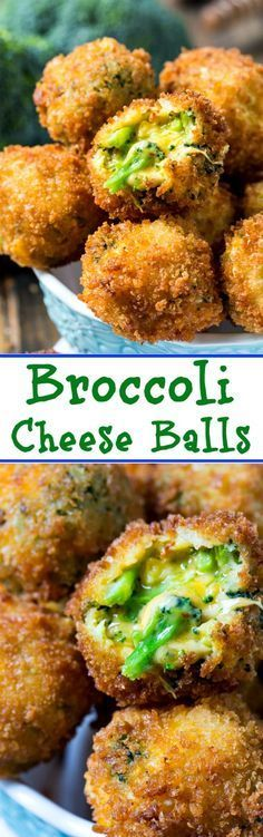 Broccoli Cheese Balls are crispy on the outside with lots of gooey cheese on the inside #appetizer #broccoli #cheese
